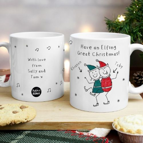 Personalised Purple Ronnie Christmas Elves White Mug